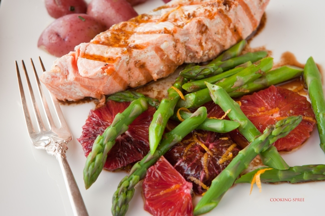 Salmon- asparagus- blood orange