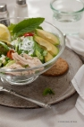 Chicken salad with peas- feta- mint