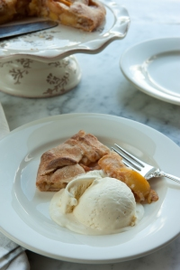 Peach galette with vanilla-cardamom ice-cream